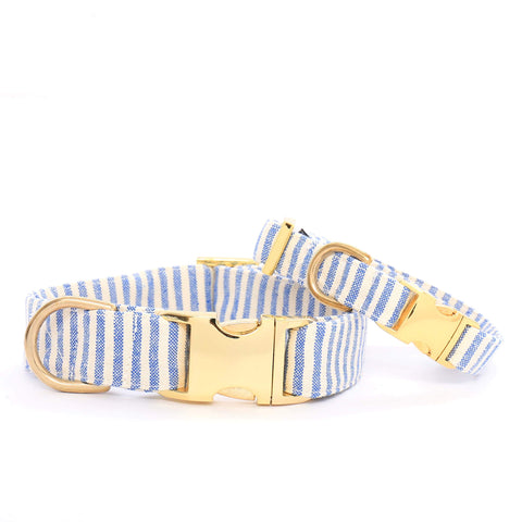 The Foggy Dog Collar - French Blue Stripe s