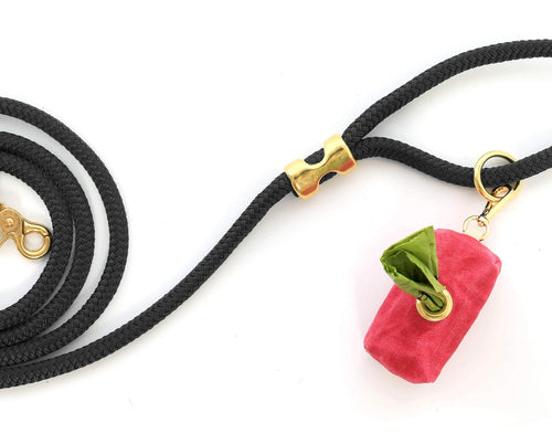 The Foggy Dog Leash Bag - Waxed Canvas in Hot Pink
