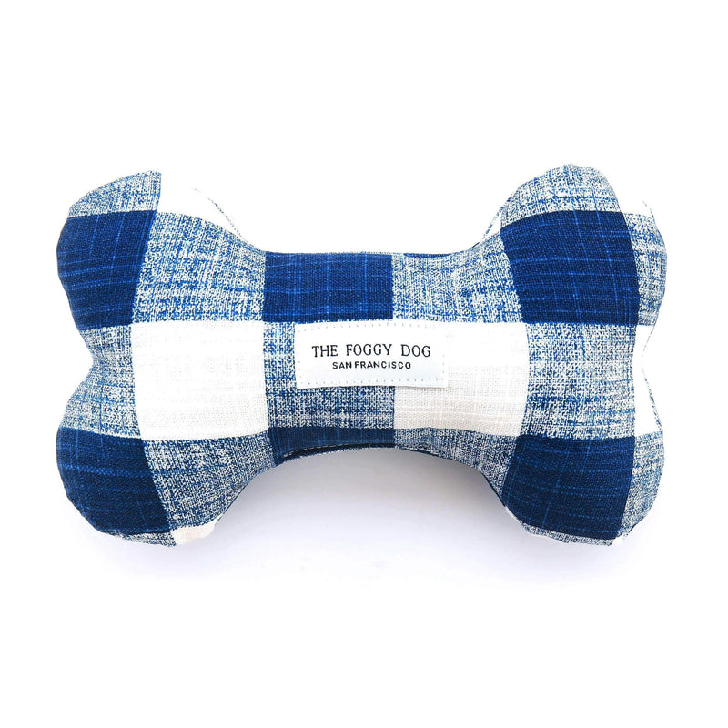 Dog Bone Squeaky Toy – Navy Blue Gingham