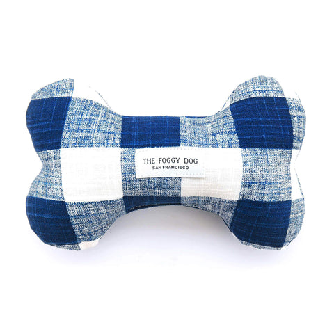 The Foggy Dog Dog Bone Squeaky Toy – Navy Blue Gingham