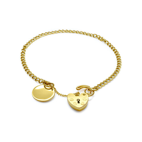 GOLD CHARM BRACELET WITH INITUAL DISK