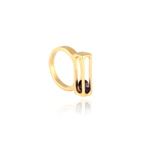 GOLD PRECIOUS CAGE RING