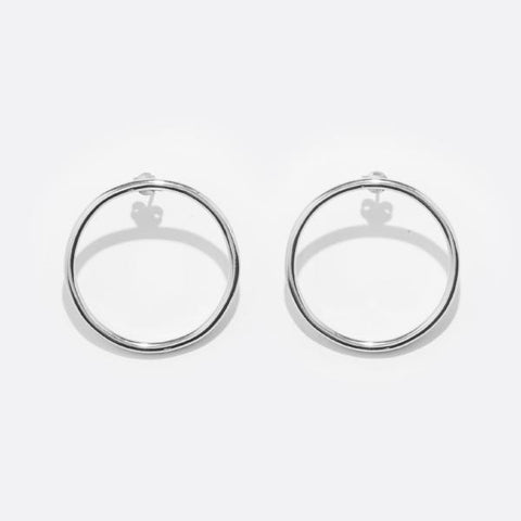M HOOPS SILVER EARRINGS