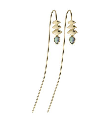 GOLD MERMAID HOOK OPAL EARRINGS