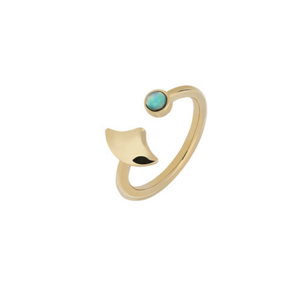 GOLD STACKING RING WITH OPALE