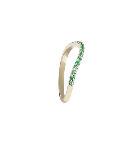 GREEN STONES GOLD RING RAINBOW