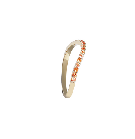 ORANGE STONES GOLD RING RAINBOW