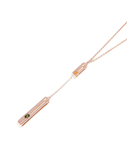PINK GOLD PRECIOUS DOUBLE CAGE LONG NECKLACE