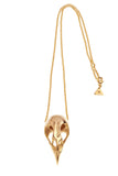 Gold bird Skull  Gold Necklace