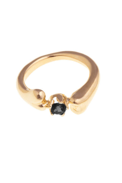 GOLD BONE RING WITH ONIX STONE
