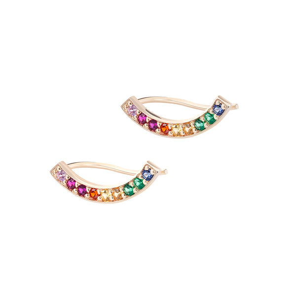 CURVE OF LIFE RAINBOW  GOLD EARRING