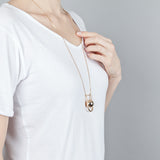 U BOLA NECKLACE PINK GOLD PLATED