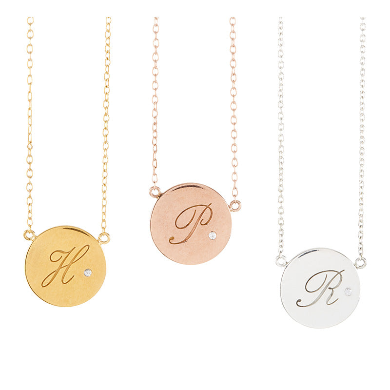 Initial disc necklace with diamond point mod international bv initial disc necklace with diamond point aloadofball Image collections
