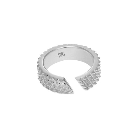SILVER SPIKY NUT RING