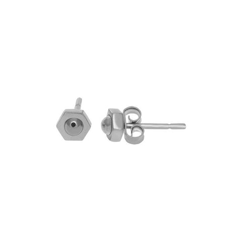 SILVER NUT STUD EARRINGS