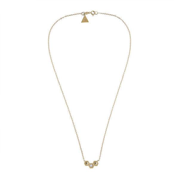GOLD TRI NUT OPALE NECKLACE