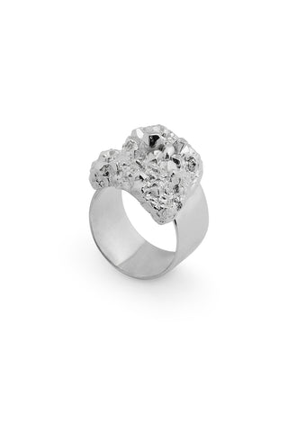SILVER CRYSTALLISE SQUARE RING