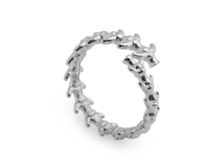 SILVER FISHBONE RING
