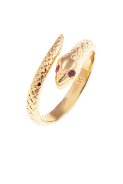 GOLD RUBY SNAKE RING