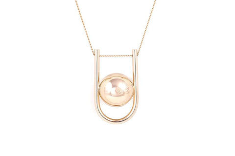 U BOLA NECKLACE YELLOW GOLD PLATED