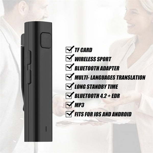 2 Colors Stereo Multi-Language Translation Headset Bluetooth Receiver for Learning Travel