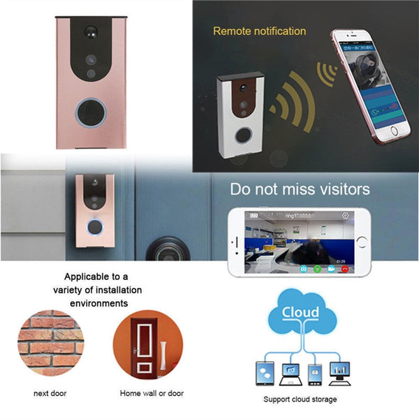WiFi Wireless Doorbell Video Camera Remote Phone IR Night Vision Security Bell (Silver)