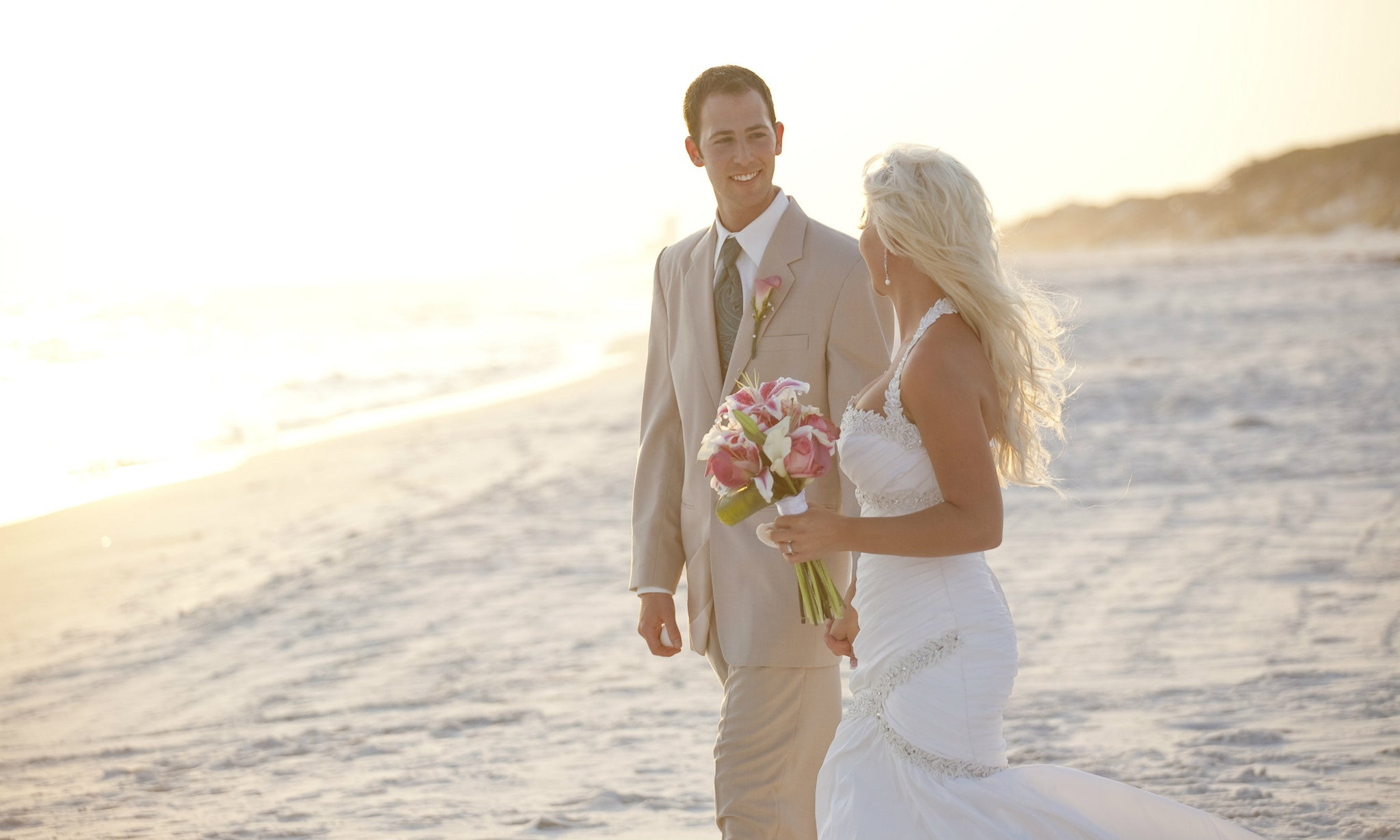 Wedding flip flops bride and groom on beach