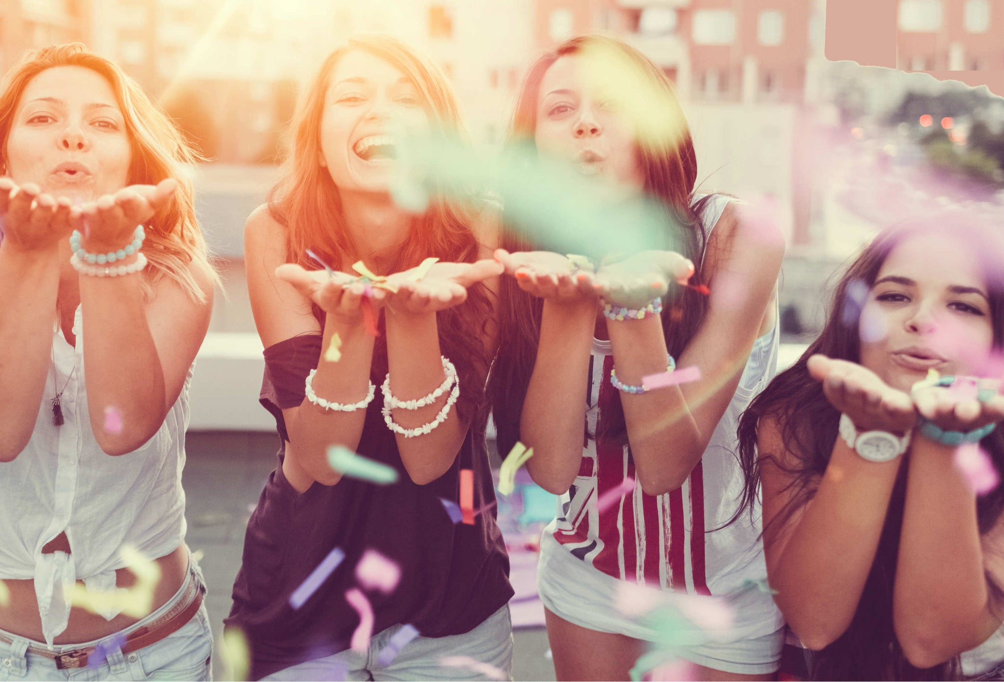 girls blowing kisses
