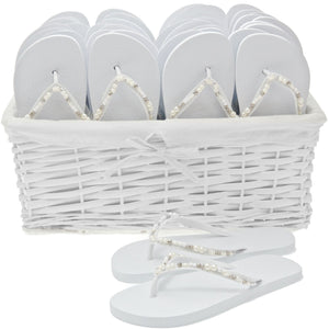 pearl flip flops with basket