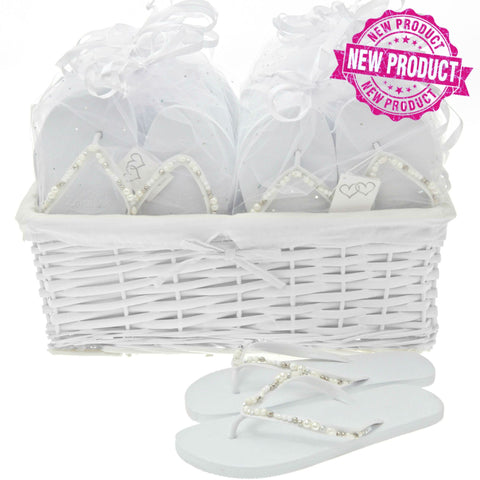 bridal pearl wedding flip flops basket