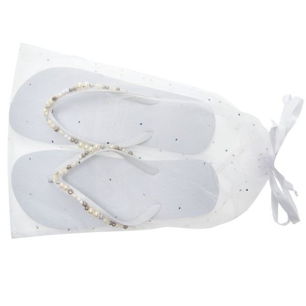 flip flops in organza bag