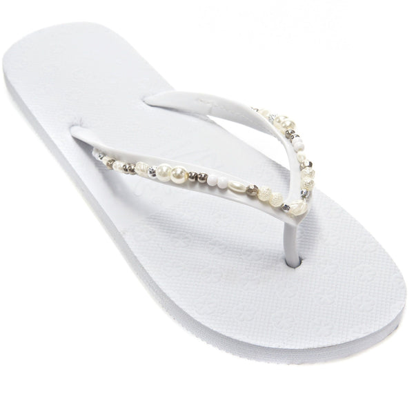 wedding flip flops with pearl decoration