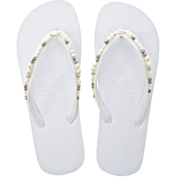 white wedding flip flops with pearls