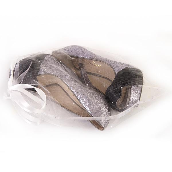 shoes in organza bag