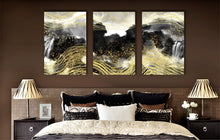 Abstract Gold Line Bird Waterfall Framed Canvas Ink Painting Modern Wall Art