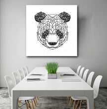 Panda Drawing Sketch Framed Canvas Photo Wall Art Print Square Black and white