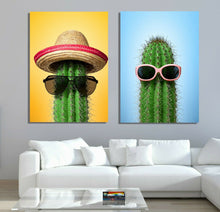 Cactus with Hat and Sunglasses Framed Canvas Modern wall art Home Decor Print