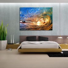 Stretched Canvas prints seascape print Sun Beach in wave ocean sunrise surfing