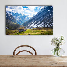 Stretched Canvas prints print Snow mountain cabin north Europe wall art