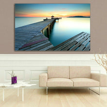 Time lapse Framed Canvas prints Triangle bridge sunset beach modern wall art