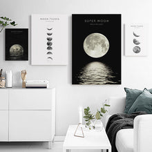 Moon Phase Framed Canvas Prints Moon Eclipse Modern Wall Art Home Decor Print