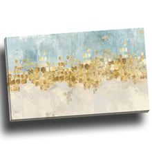 Dancing star blue auqa gold star Stretched Printed canvas abstract print wallart