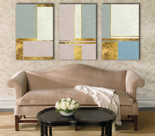 Abstract Line Block Gold Blue Pink Framed Canvas Prints Modern Wall Art Home
