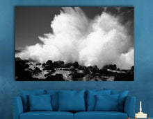 Black & White Sea Wave Rock Framed Canvas Print Wall Art Blue prints photo