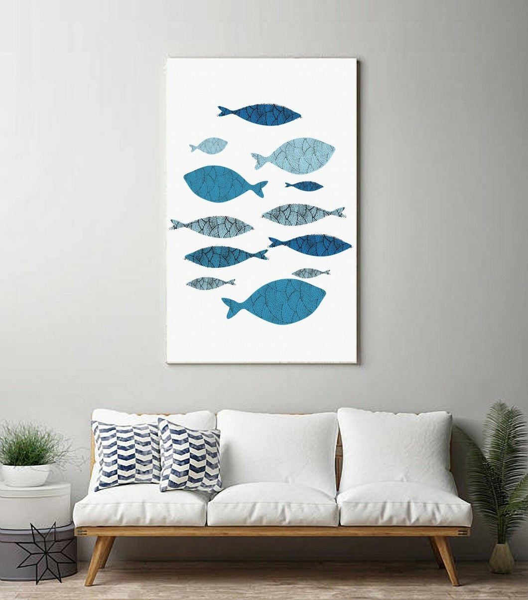 Abstract blue fish Stretched Canvas Prints Wall Art Decor Framed Art work