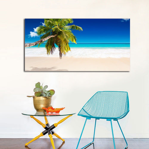 Framed stretched white Beach canvas coconut tree print blue ocean wall art