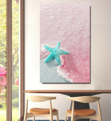 Blue Starfish on Pink sands beach Framed Canvas Wall Art Print Wall Prints