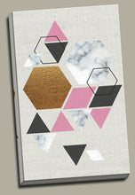 Abstract pink gold black Framed Canvas Prints Modern Wall Art Geometry Triangle