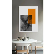 Abstract Grey Orange Framed Modern Canvas Wall Art Print Living Room Prints