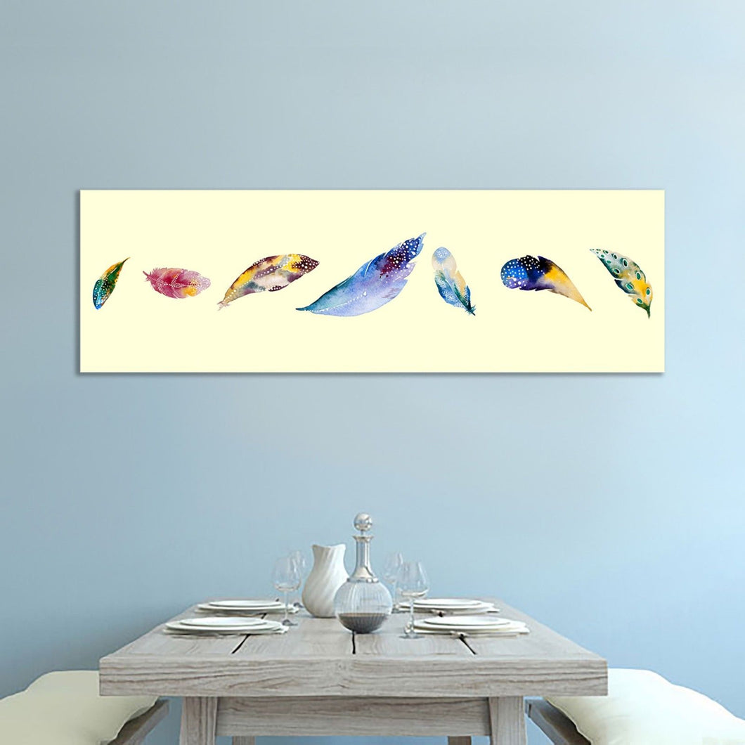 Colorful Feathers Stretched Canvas Prints Framed Wall Art Home Decor Painting